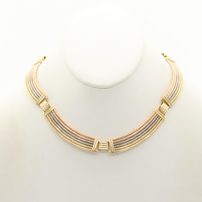 18K Yellow, White and Rose Gold Collar Necklace