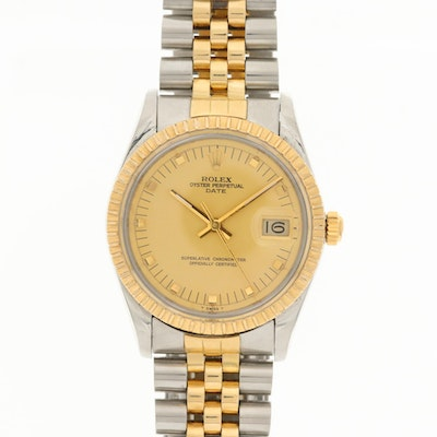 Vintage Rolex Datejust 14K Yellow Gold and Stainless Steel Automatic Wristwatch
