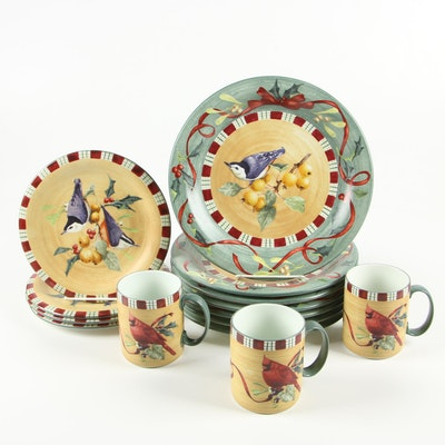 "Lenox ""Winter Greetings Everyday Nuthatch"" Earthenware Dinnerware, Late 20th C."