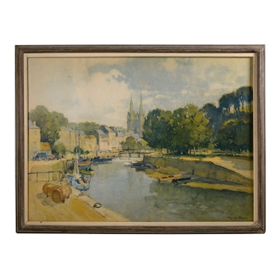 "Lithograph After Georges Robin ""Riverside Quimper"""