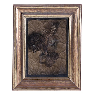 Victorian Memento Mori Human Hair Art in Shadow Box, Mid to Late 19th Century