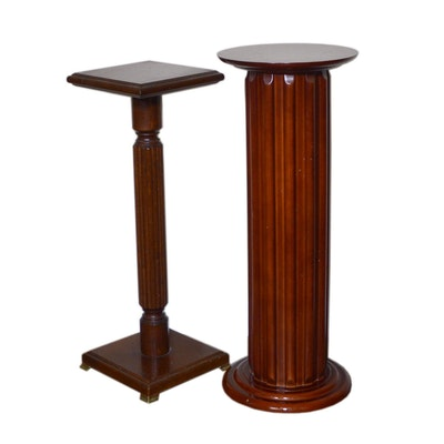 Round Fluted Plant Stand and Other Plant Stand, Late 20th Century