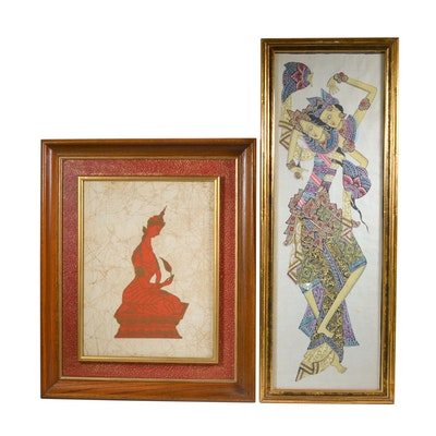 Thai Style Batik Panel and Indonesian Textile Painting of Dancers