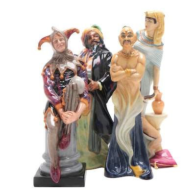 Royal Doulton Figurines: Genie, Egyptian Queen, Blue Beard, Jester