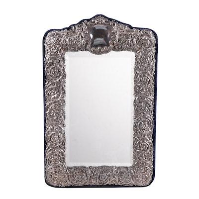Neil Lasher Britannia Silver Repoussé Floral Tabletop Mirror, 1990s