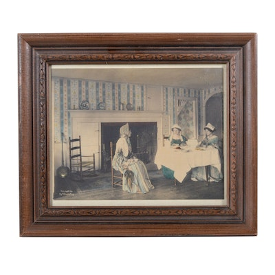 Wallace Nutting Hand Colored Photograph of Domestic Scene