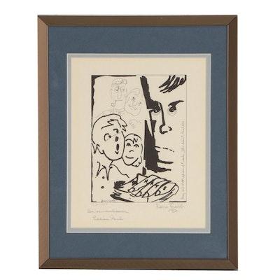 Davis Grubb Cartoon Lithograph with Lillian Gish Autograph