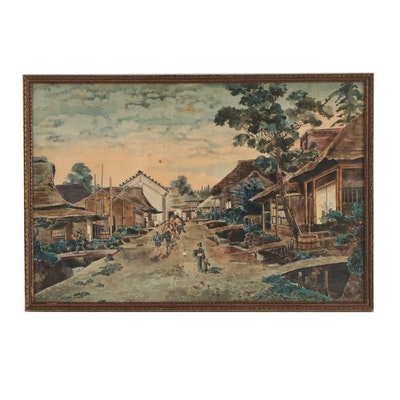 Japanese Watercolor Painting of Village Scene