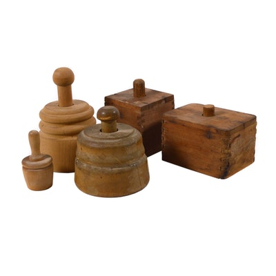 Wood Butter Molds, Antique