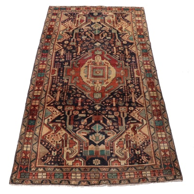 4'11 x 9'1 Hand-Knotted Northwest Persian Wool Rug, 1940s