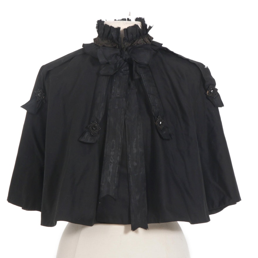 Victorian Mourning Capelet with Jet Beading, 19th Century