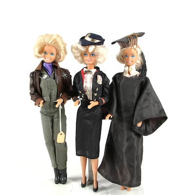 1980s Mattel Barbies Dressed in Graduation, Air Force and Military Outfits