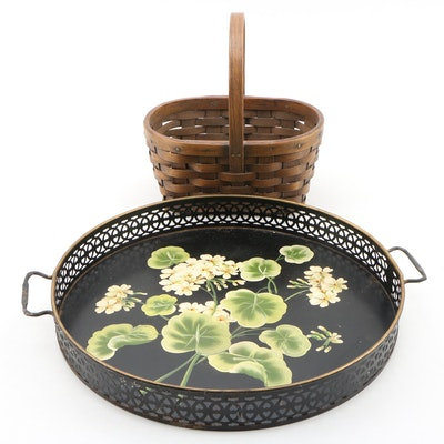 Pilgrim Art Colonial Revival Hand-Painted Tole Tray with Splint Woven Basket