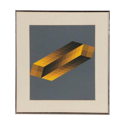 "Victor Vasarely Op-Art Serigraph ""Tridim"", 1968"