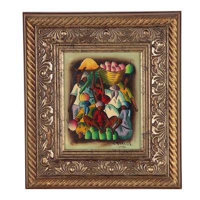 C. Gerelis Oil Painting of Haitian Folk Art Market Scene