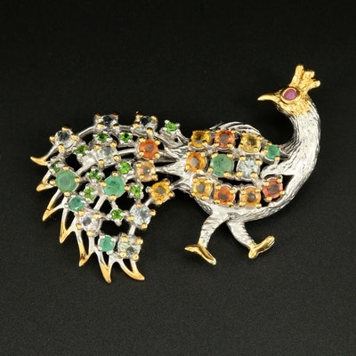 Sterling Silver Emerald, Yellow Sapphire and Ruby Peacock Brooch