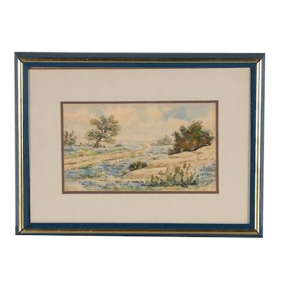 Noel Daggett Watercolor Painting of Texas Bluebonnets in Landscape