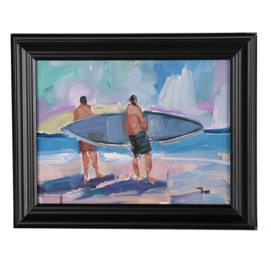 "Jose Trujillo Oil Painting ""Surfing"""