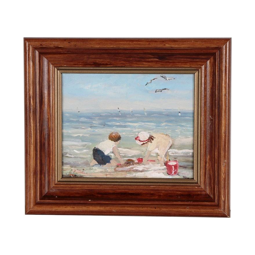 Carol Simkin Oil Painting of Beach Scene with Children