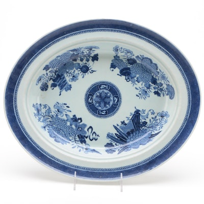 Chinese Porcelain Canton Blue and White Bowl Platter, Mid to Late 19th Century