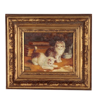 Oil Painting of Playful Kittens, 20th century
