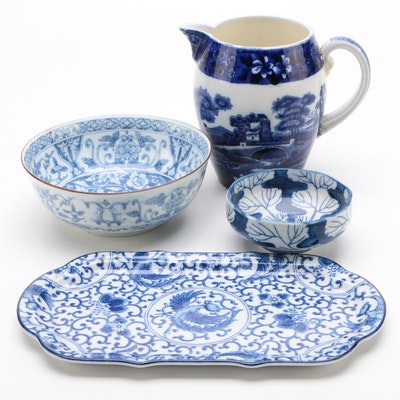 Japanese and English Blue and White Serveware, Vintage