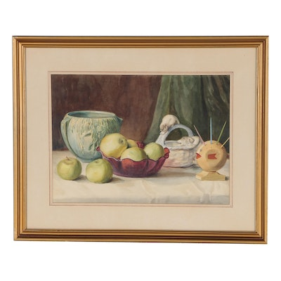Fritz Boehmer Still Life Watercolor Painting, Early 20th Century