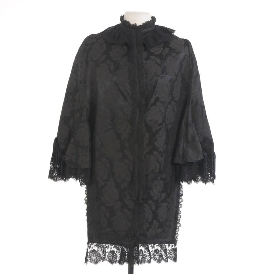 Victorian Mourning Cape in Black Lace and Brocade with Chenille Fringe