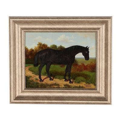 Vilmos Paksi Equestrian Oil Portrait