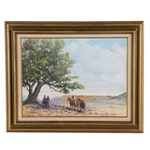 "Brad Byrnes Oil Painting ""Cow Pokes"", 1976"