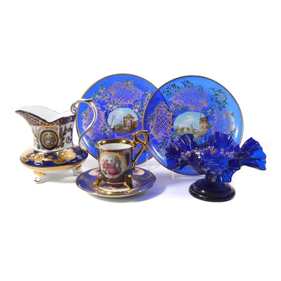 Hand-Painted Glass Plates, Ruffle Candle Holder and Other Porcelain