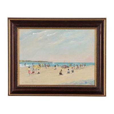 Donald Fraser Beach Scene Oil Painting