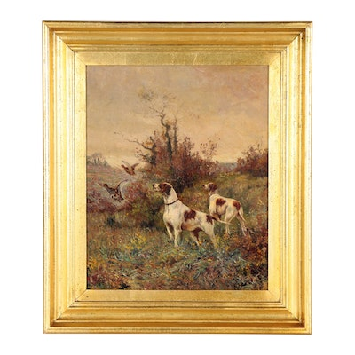 Maurice Guillebert Oil Painting of Hunting Dogs