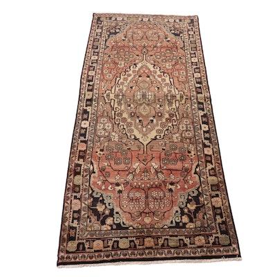 4'1 x 10'6 Hand-Knotted Persian Zanjan Wool Rug, 1970s