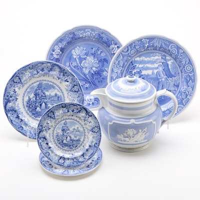 Antique R. Hall Transferware and Spode Plates with Blue-White Pitcher