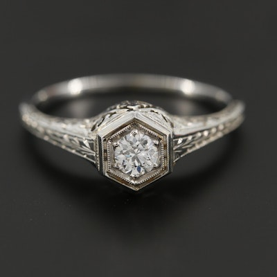 Vintage 18K White Gold Diamond Ring