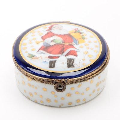 "Fontanille & Marraud Limoges Porcelain ""Santa Claus"" Trinket Box"