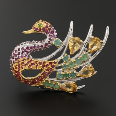 Sterling Silver Citrine, Emerald, and Ruby Swan Brooch