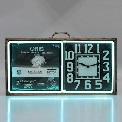 Art Deco Style Neon Clock with Rotating Advertisements