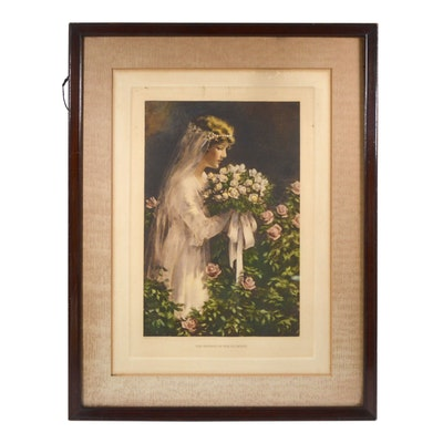 "Bessie Pease Gutmann Lithograph ""The Fairest of the Flowers"""