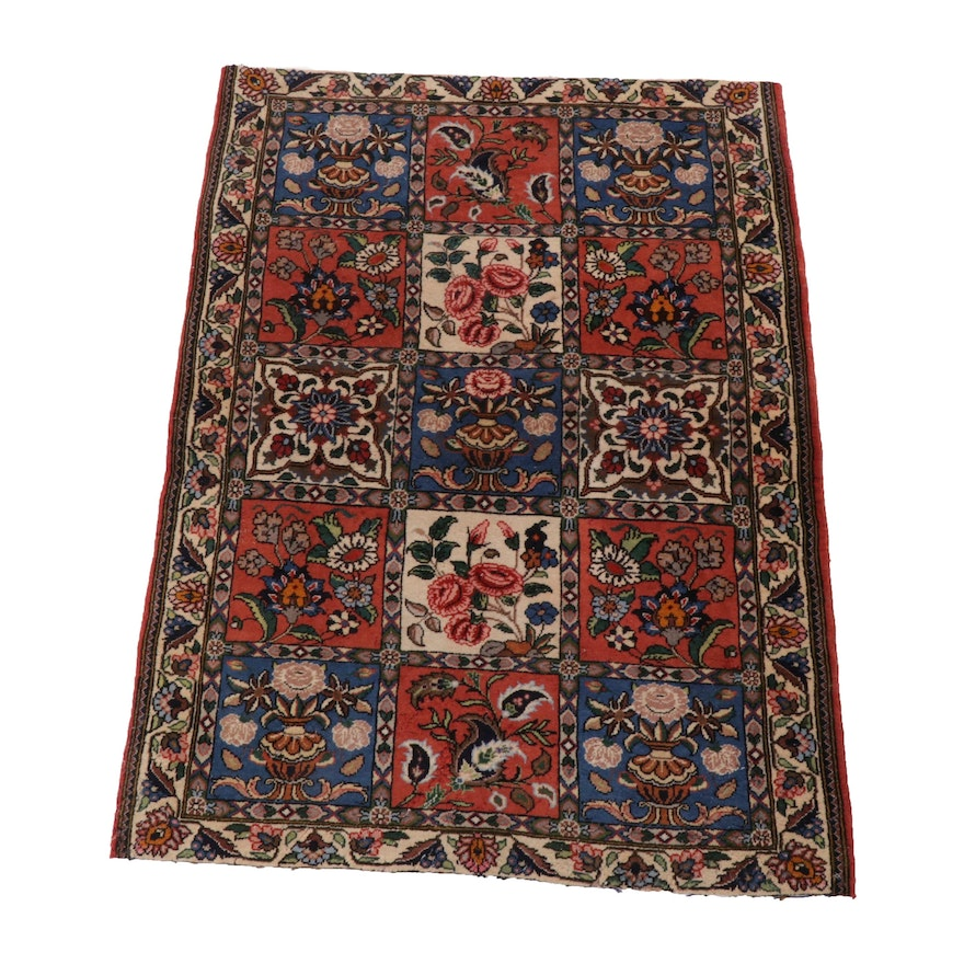 3'4 x 4'6 Hand-Knotted Persian Bakhtiari Wool Rug, 1980s
