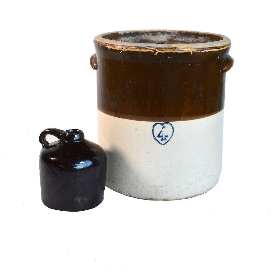 Burley Winter Four Gallon Salt Glazed Stoneware Crock and Other Jug