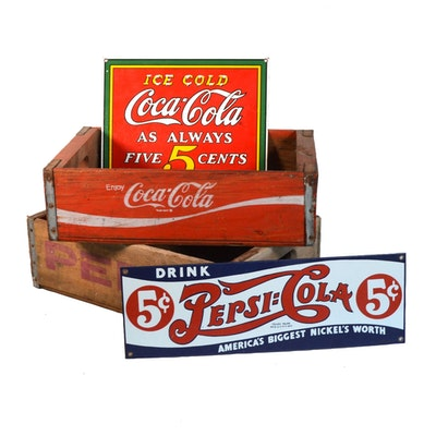 Pepsi and Coca Cola Crates and Signs, Vintage
