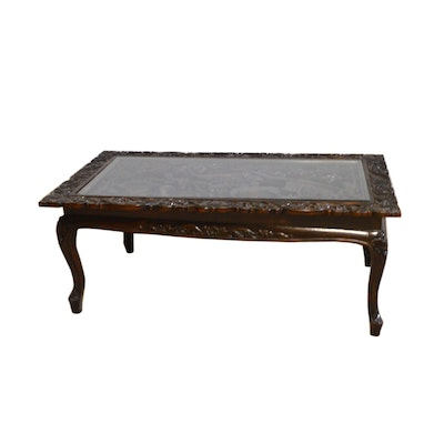 Asian High Relief Coffee Table, Vintage
