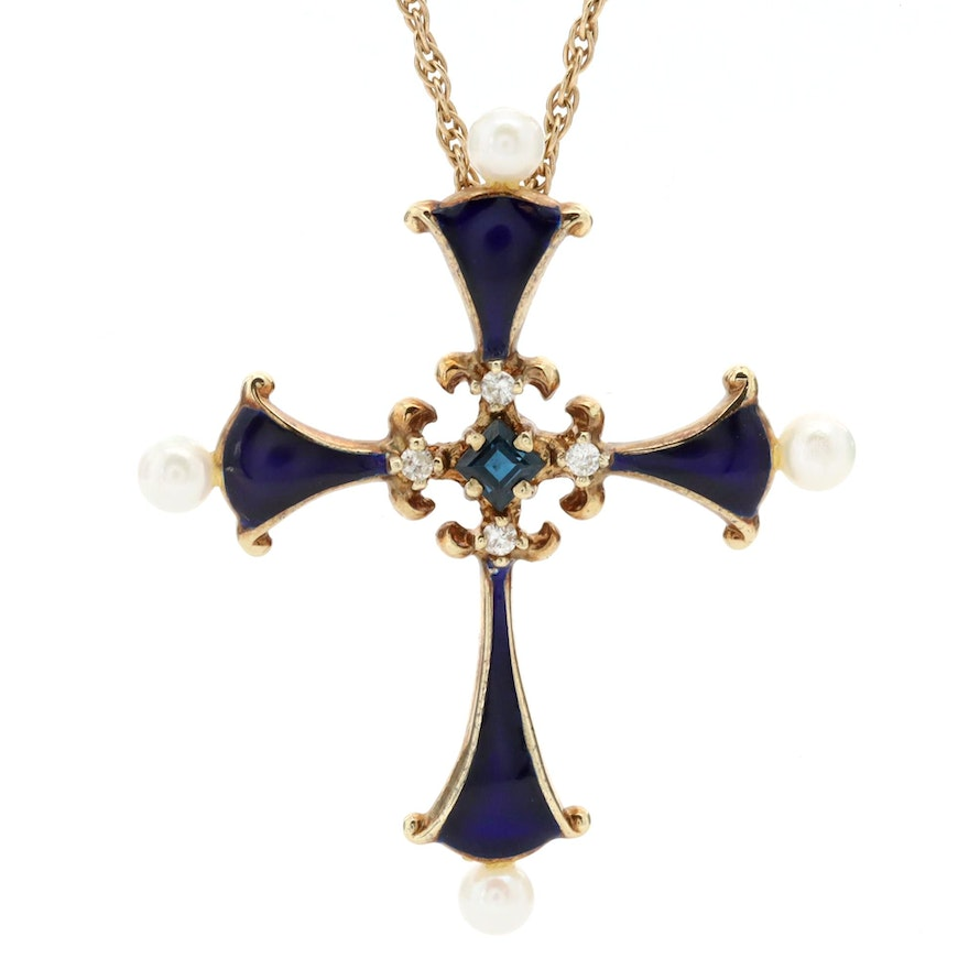 14K Yellow Gold Blue Sapphire, Diamond, Cultured Pearl and Enamel Cross Necklace