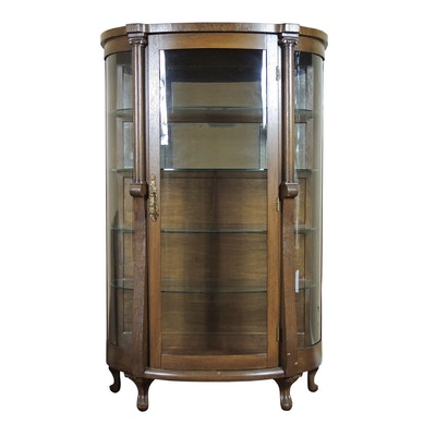 Illuminated Oak Bow Front Display Cabinet