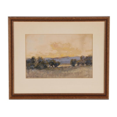 Charles Partridge Adams Watercolor Painting of Western Landscape