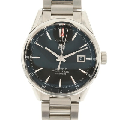 TAG Heuer Carrera Twin-Time Stainless Steel Wristwatch