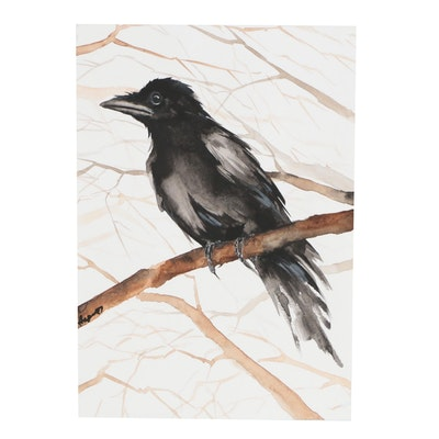 Anne Gorywine Watercolor Painting of Crow
