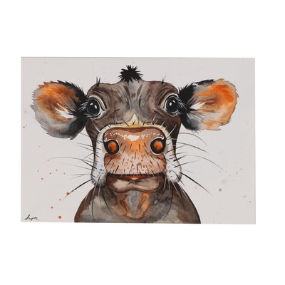 Anne Gorywine Watercolor Painting of Cow